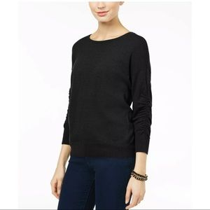 New INC black wool ruched sleeves sweater top
